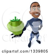 Clipart Of A 3d Young Black Male Super Hero Dark Blue Suit Holding Up A Green Bell Pepper Royalty Free Illustration