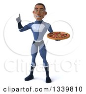 Clipart Of A 3d Young Black Male Super Hero Dark Blue Suit Holding Up A Finger And A Pizza Royalty Free Illustration