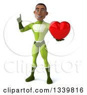 Clipart Of A 3d Young Black Male Super Hero In A Green Suit Holding Up A Finger And A Red Love Heart Royalty Free Illustration