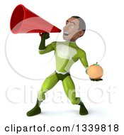 Clipart Of A 3d Young Black Male Super Hero In A Green Suit Holding A Navel Orange And Announcing To The Left With A Megaphone Royalty Free Illustration