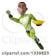 Clipart Of A 3d Young Black Male Super Hero In A Green Suit Holding A Banana And Flying Royalty Free Illustration
