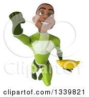 Clipart Of A 3d Young Black Male Super Hero In A Green Suit Holding A Banana And Flying 2 Royalty Free Illustration