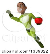 Clipart Of A 3d Young Black Male Super Hero In A Green Suit Holding A Tomato And Flying Royalty Free Illustration