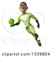 Clipart Of A 3d Young Black Male Super Hero In A Green Suit Holding A Green Bell Pepper And Flying Royalty Free Illustration