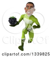 Clipart Of A 3d Young Black Male Super Hero In A Green Suit Holding A Blackberry And Sprinting Royalty Free Illustration