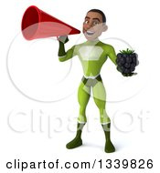 Clipart Of A 3d Young Black Male Super Hero In A Green Suit Holding A Blackberry And Announcing With A Megaphone Royalty Free Illustration