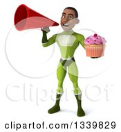 Clipart Of A 3d Young Black Male Super Hero In A Green Suit Holding A Pink Frosted Cupcake And Announcing With A Megaphone Royalty Free Illustration