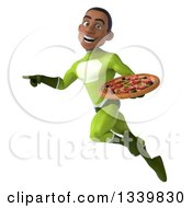 Clipart Of A 3d Young Black Male Super Hero In A Green Suit Holding A Pizza Flying And Pointing To The Left Royalty Free Illustration