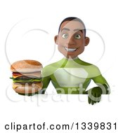 Clipart Of A 3d Young Black Male Super Hero In A Green Suit Holding A Double Cheeseburger Over A Sign Royalty Free Illustration