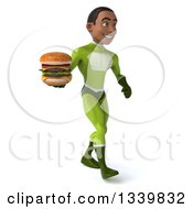 Clipart Of A 3d Young Black Male Super Hero In A Green Suit Holding A Double Cheeseburger And Walking To The Right Royalty Free Illustration