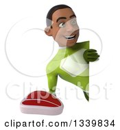 Clipart Of A 3d Young Black Male Super Hero In A Green Suit Holding A Beef Steak And Looking Around A Sign Royalty Free Illustration