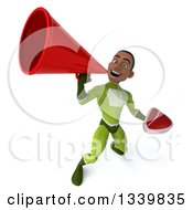 Clipart Of A 3d Young Black Male Super Hero In A Green Suit Holding A Beef Steak And Announcing Upwards With A Megaphone Royalty Free Illustration