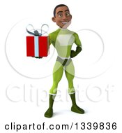 Clipart Of A 3d Young Black Male Super Hero In A Green Suit Holding A Gift Royalty Free Illustration