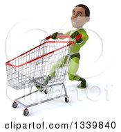 Clipart Of A 3d Young Black Male Super Hero In A Green Suit Speed Walking And Pushing A Shopping Cart To The Left Royalty Free Illustration