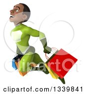 Clipart Of A 3d Young Black Male Super Hero In A Green Suit Carrying Shopping Bags And Flying Up To The Left Royalty Free Illustration