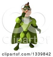 Clipart Of A 3d Caucasian Green Super Hero Man Searching With A Magnifying Glass 2 Royalty Free Illustration by Julos