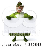 Clipart Of A 3d Buff Male Black Super Hero In Green Holding A Blank Sign Royalty Free Illustration by Julos