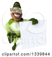 Clipart Of A 3d Buff Male Black Super Hero In Green Holding Up And Pointing To A Blank Sign Royalty Free Illustration