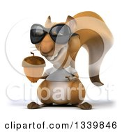 Clipart Of A 3d Casual Squirrel Wearing A White T Shirt And Sunglasses Holding And Pointing To An Acorn Royalty Free Illustration by Julos