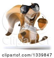 Clipart Of A 3d Casual Squirrel Wearing A White T Shirt And Sunglasses Facing Slightly Right Hopping Giving A Thumb Up And Holding An Acorn Royalty Free Illustration by Julos