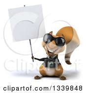 Clipart Of A 3d Business Squirrel Wearing Sunglasses Holding A Camera And Blank Sign Royalty Free Illustration
