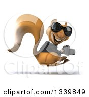 Clipart Of A 3d Business Squirrel Wearing Sunglasses Facing Right Hopping And Holding A Camera Royalty Free Illustration