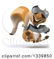 Clipart Of A 3d Business Squirrel Wearing Sunglasses Facing Right Hopping Giving A Thumb Up And Holding A Camera Royalty Free Illustration