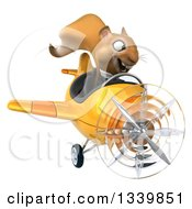 Clipart Of A 3d Business Squirrel Aviator Pilot Flying A Yellow Airplane Royalty Free Illustration