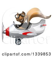 Clipart Of A 3d Bespectacled Business Squirrel Aviator Pilot Flying A White And Red Airplane 2 Royalty Free Illustration