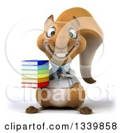 Clipart Of A 3d Doctor Or Veterinarian Squirrel Holding And Pointing To A Stack Of Books Royalty Free Illustration by Julos