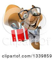 Clipart Of A 3d Bespectacled Doctor Or Veterinarian Squirrel Holding A Gift Around A Sign Royalty Free Illustration by Julos
