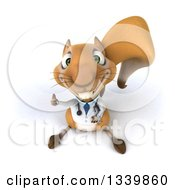 Clipart Of A 3d Doctor Or Veterinarian Squirrel Holding Up A Thumb Royalty Free Illustration by Julos