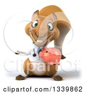 Clipart Of A 3d Doctor Or Veterinarian Squirrel Holding A Piggy Bank And Presenting Royalty Free Illustration by Julos