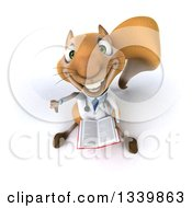 Clipart Of A 3d Doctor Or Veterinarian Squirrel Holding Up A Thumb Down And An Open Book Royalty Free Illustration by Julos