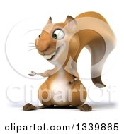 Clipart Of A 3d Squirrel Presenting To The Left Royalty Free Illustration