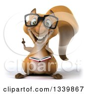 Clipart Of A 3d Bespectacled Squirrel Holding Up A Finger And A Book Royalty Free Illustration