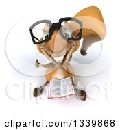 Clipart Of A 3d Bespectacled Squirrel Holding Up A Thumb And A Book Royalty Free Illustration