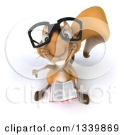 Clipart Of A 3d Bespectacled Squirrel Holding Up A Thumb Down And A Book Royalty Free Illustration