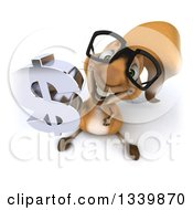 Clipart Of A 3d Bespectacled Squirrel Holding Up A Dollar Currency Symbol Royalty Free Illustration