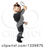 Clipart Of A 3d Macho White Businessman Wearing Sunglasses Facing Right Looking Up And Searching With A Magnifying Glass Royalty Free Illustration by Julos