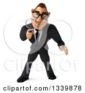 Clipart Of A 3d Bespectacled Macho White Businessman Looking Down And Searching With A Magnifying Glass Royalty Free Illustration by Julos