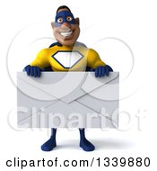 Clipart Of A 3d Muscular Black Male Super Hero In A Yellow And Blue Suit Holding A Giant Envelope Royalty Free Illustration