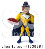 Clipart Of A 3d Muscular Black Male Super Hero In A Yellow And Blue Suit Holding A Beef Steak Royalty Free Illustration by Julos