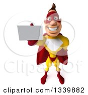 Clipart Of A 3d Muscular Male Yellow And Red Super Hero Holding Up A Business Card Royalty Free Illustration