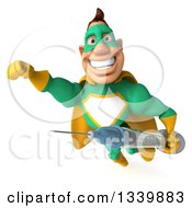 Clipart Of A 3d Muscular White Male Super Hero In A Green And Yellow Suit Holding A Vaccine Syringe And Flying Royalty Free Illustration