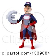 Clipart Of A 3d Young White Male Super Hero Mechanic In Red And Dark Blue Holding A Euro Currency Symbol Royalty Free Illustration