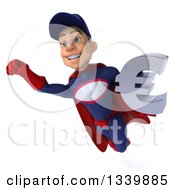 Clipart Of A 3d Young White Male Super Hero Mechanic In Red And Dark Blue Holding A Euro Currency Symbol And Flying Royalty Free Illustration