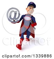 Clipart Of A 3d Young White Male Super Hero Mechanic In Red And Dark Blue Holding An Email Arobase At Symbol And Speed Walking Royalty Free Illustration