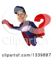 Clipart Of A 3d Young White Male Super Hero Mechanic In Red And Dark Blue Holding A Question Mark And Flying Royalty Free Illustration