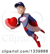 Clipart Of A 3d Young White Male Super Hero Mechanic In Red And Dark Blue Holding A Red Love Heart And Flying Royalty Free Illustration